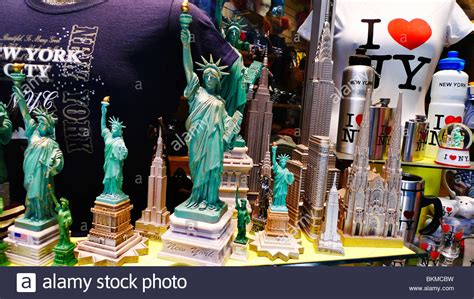 NYC souvenirs in store window, New York City, USA Stock